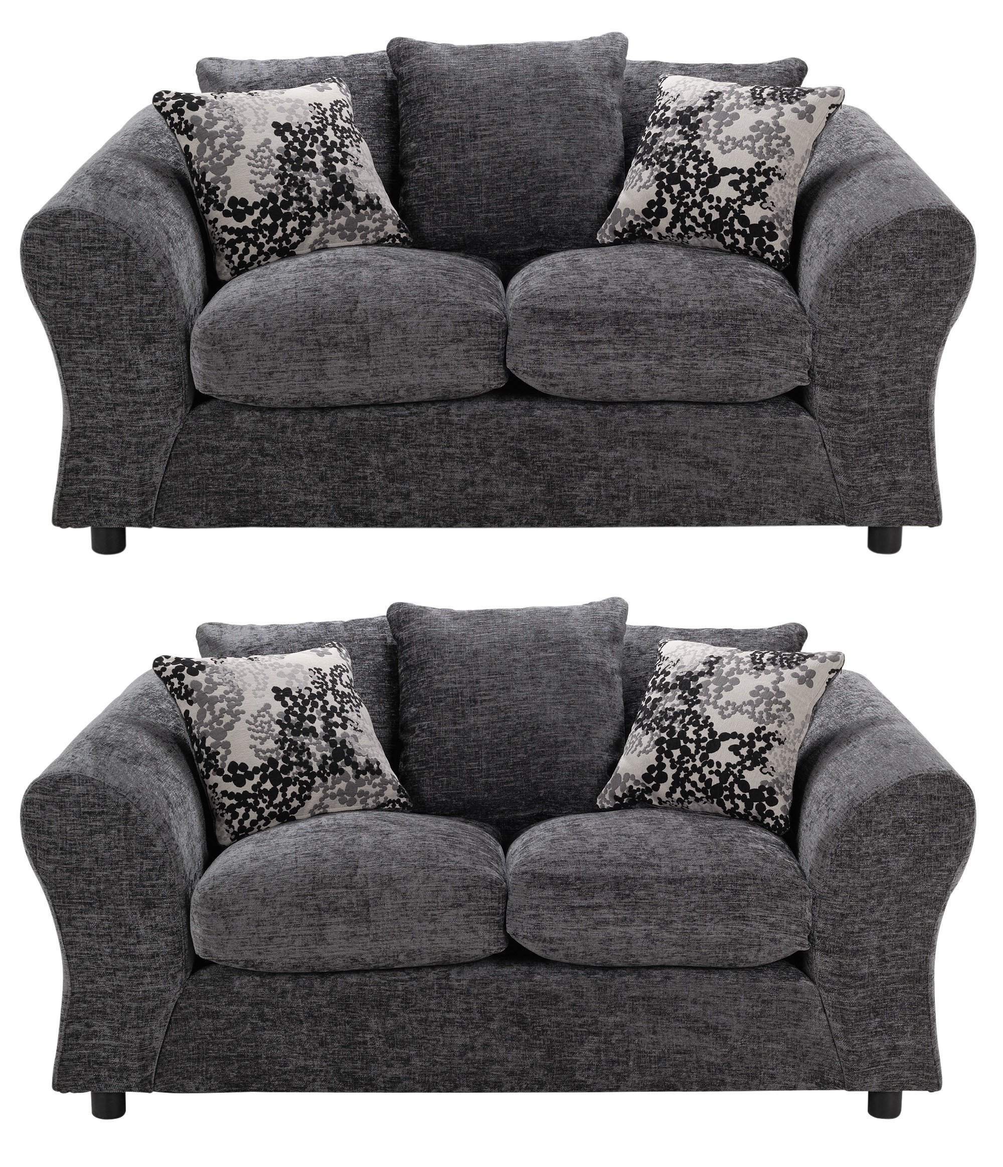 Argos Home - New Clara Regular and Regular Fabric - Sofa - Charcoal