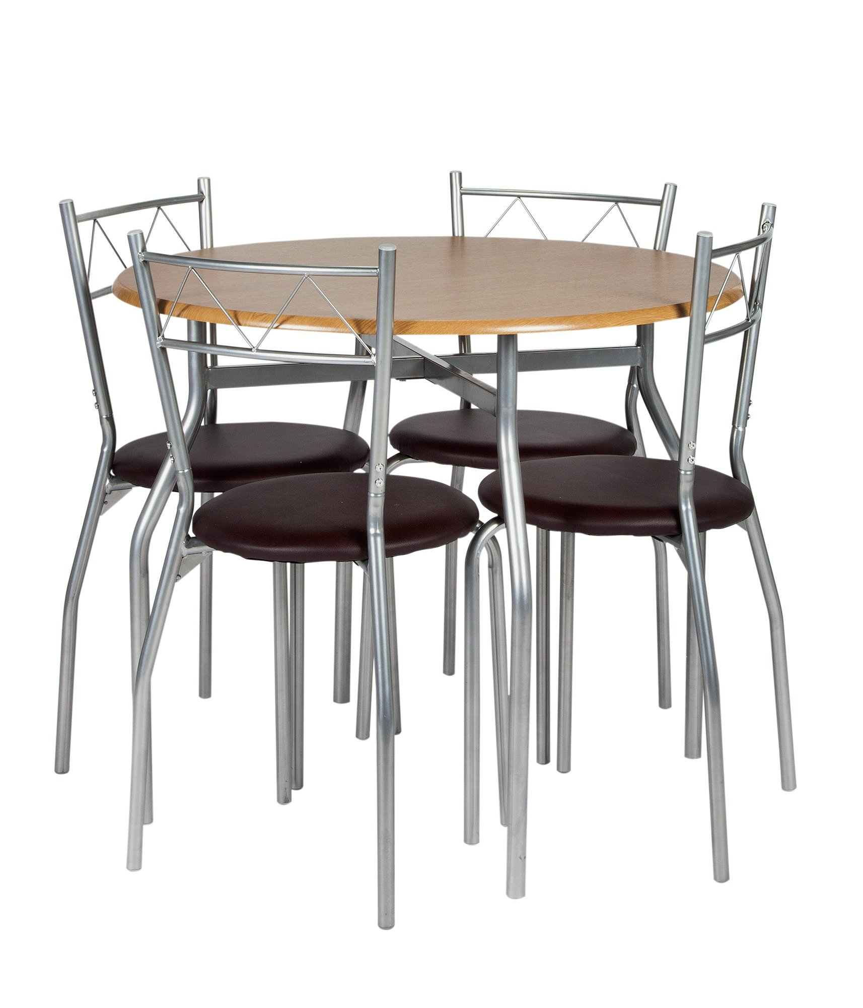 Buy Oslo Round Wood Effect Dining Table 4 Chairs at Argoscouk