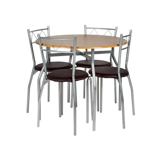 Buy Argos Home Oslo Round Wood Effect Dining Table Chairs - Round wooden dining table and 4 chairs