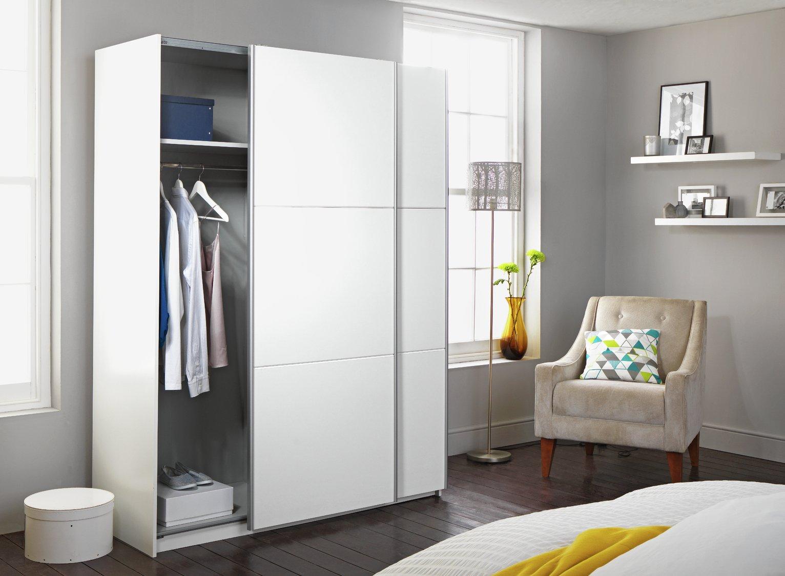 Buy Hygena Bergen 2 Door Large Sliding Wardrobe - White ...