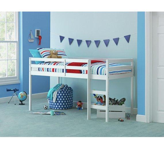 buy home wooden mid sleeper single bed frame white at. Black Bedroom Furniture Sets. Home Design Ideas