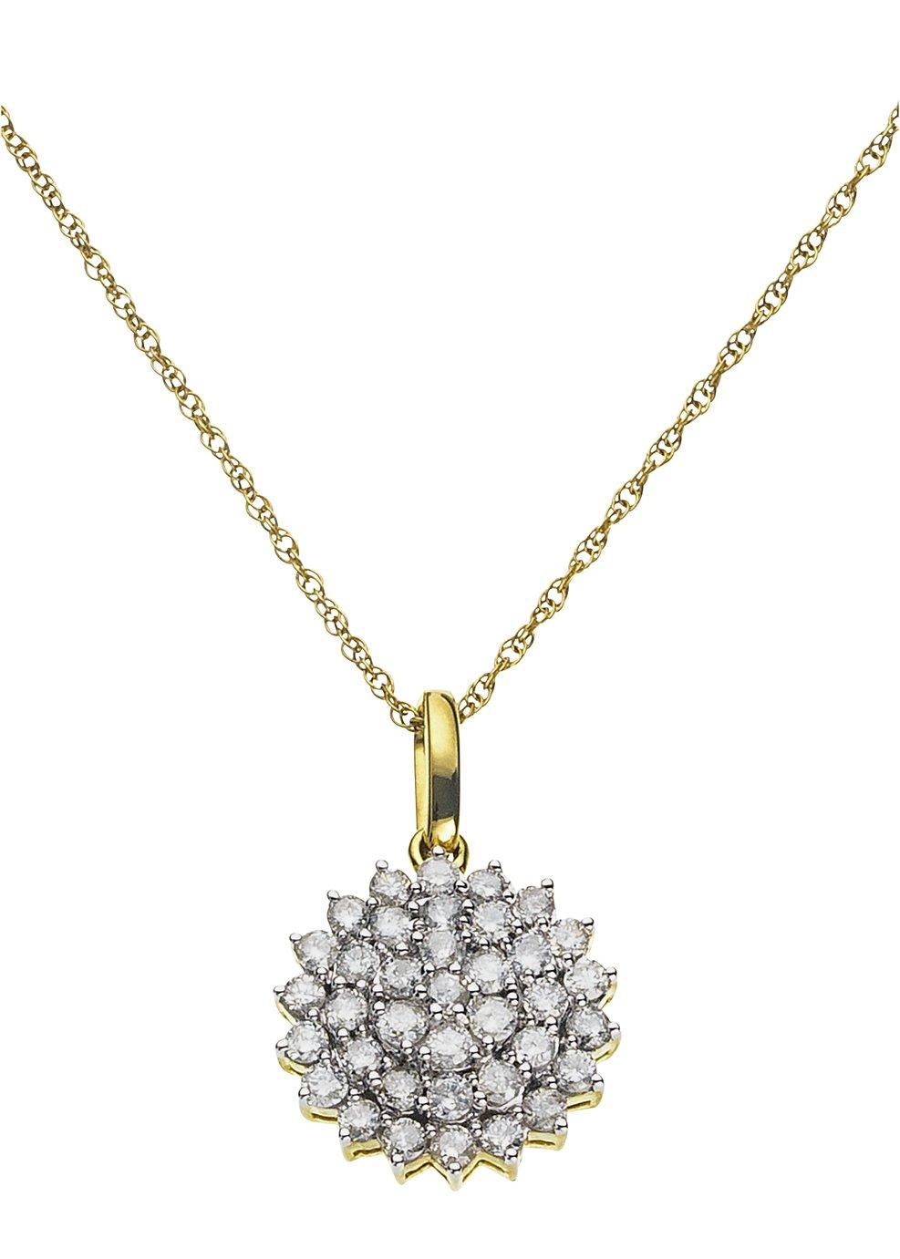 Image of Revere 9ct Gold 1.00ct tw Diamond Cluster Pendant