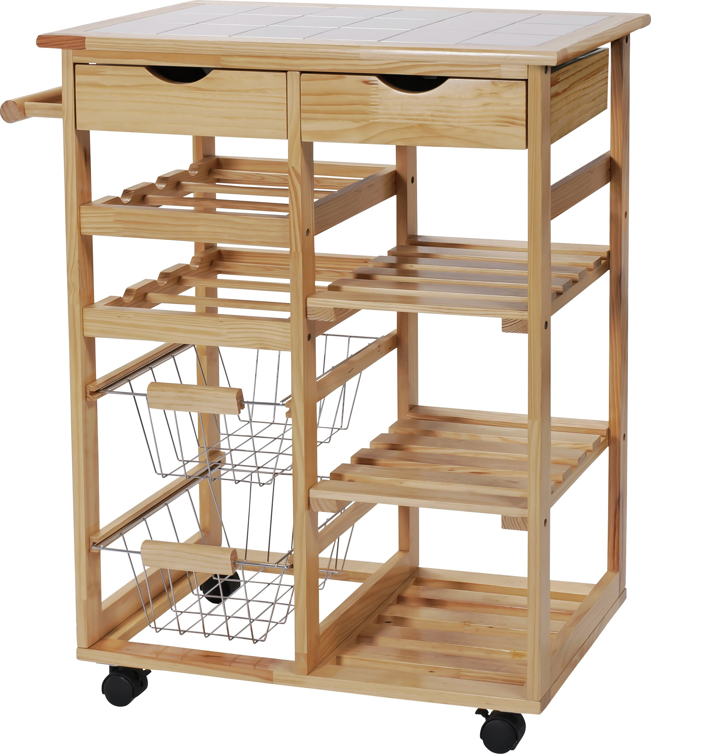 Image of HOME - Pine Tile Top Kitchen Trolley
