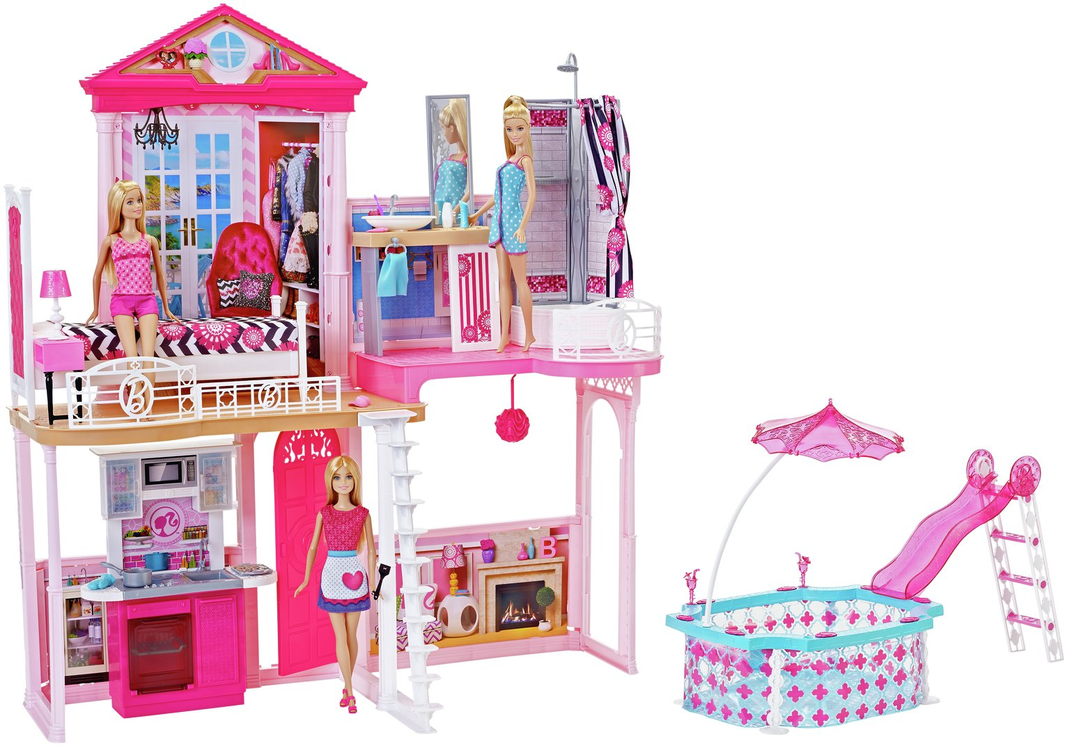Buy Complete Barbie Home Set With 3 Dolls And Pool Dolls Houses