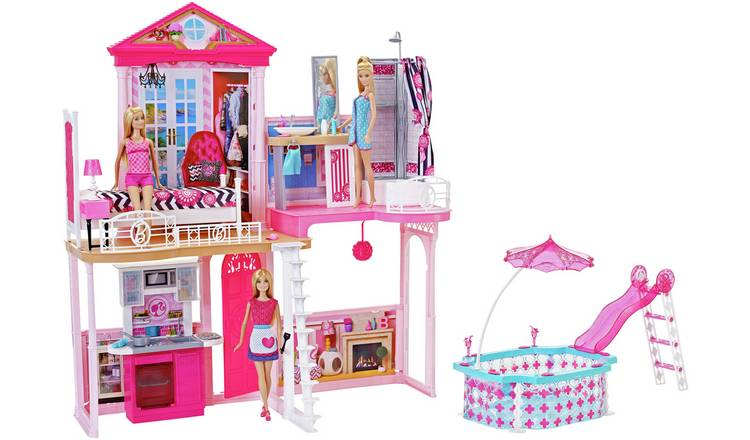 Buy Complete Barbie Home Set with 3 Dolls and Pool | Dolls houses | Argos