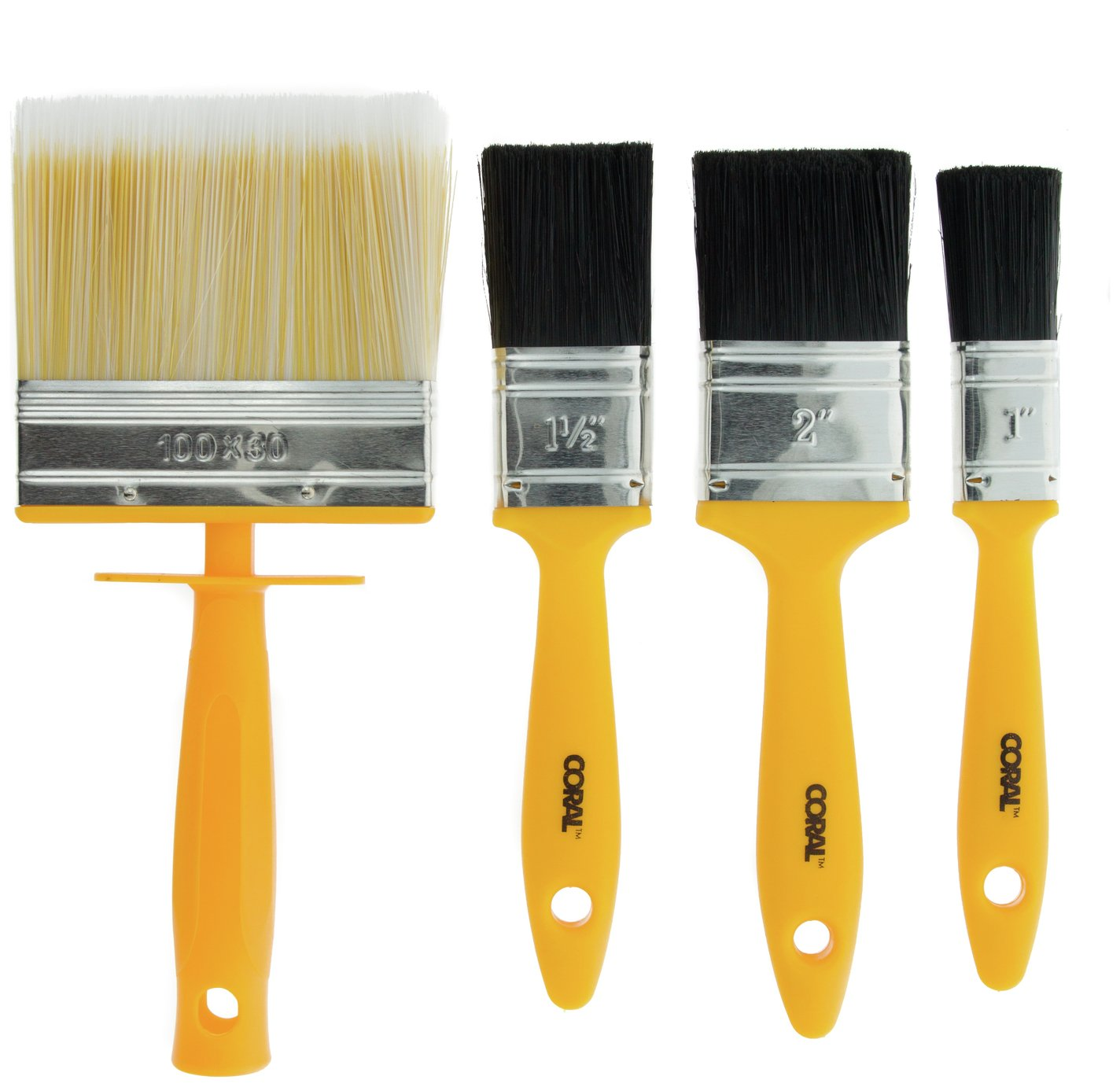 Image of Coral - Essentials Paint Brushes with Block - 4 Piece Set