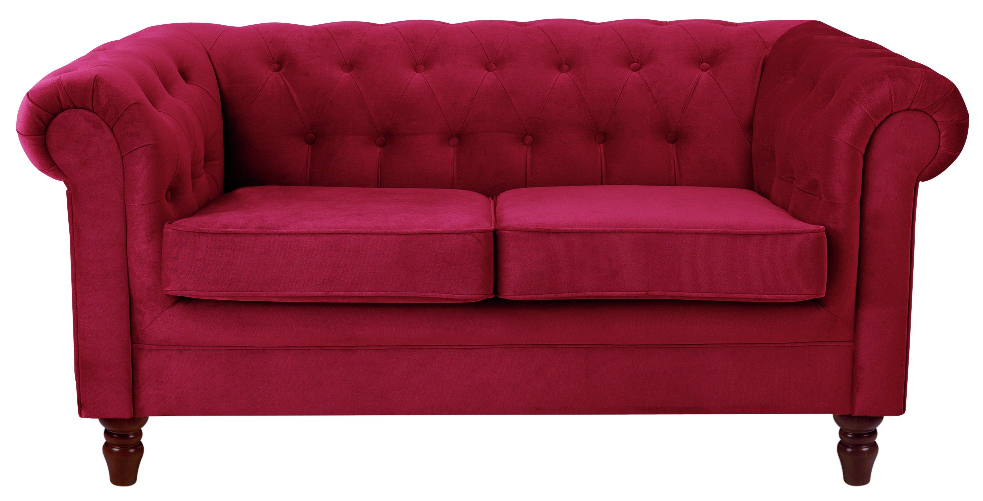 Heart of House Chesterfield 2 Seater Fabric Sofa Red