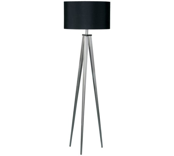 Buy satin nickel tripod floor lamp with black shade floor lamps satin nickel tripod floor lamp with black shade4254845 mozeypictures Images