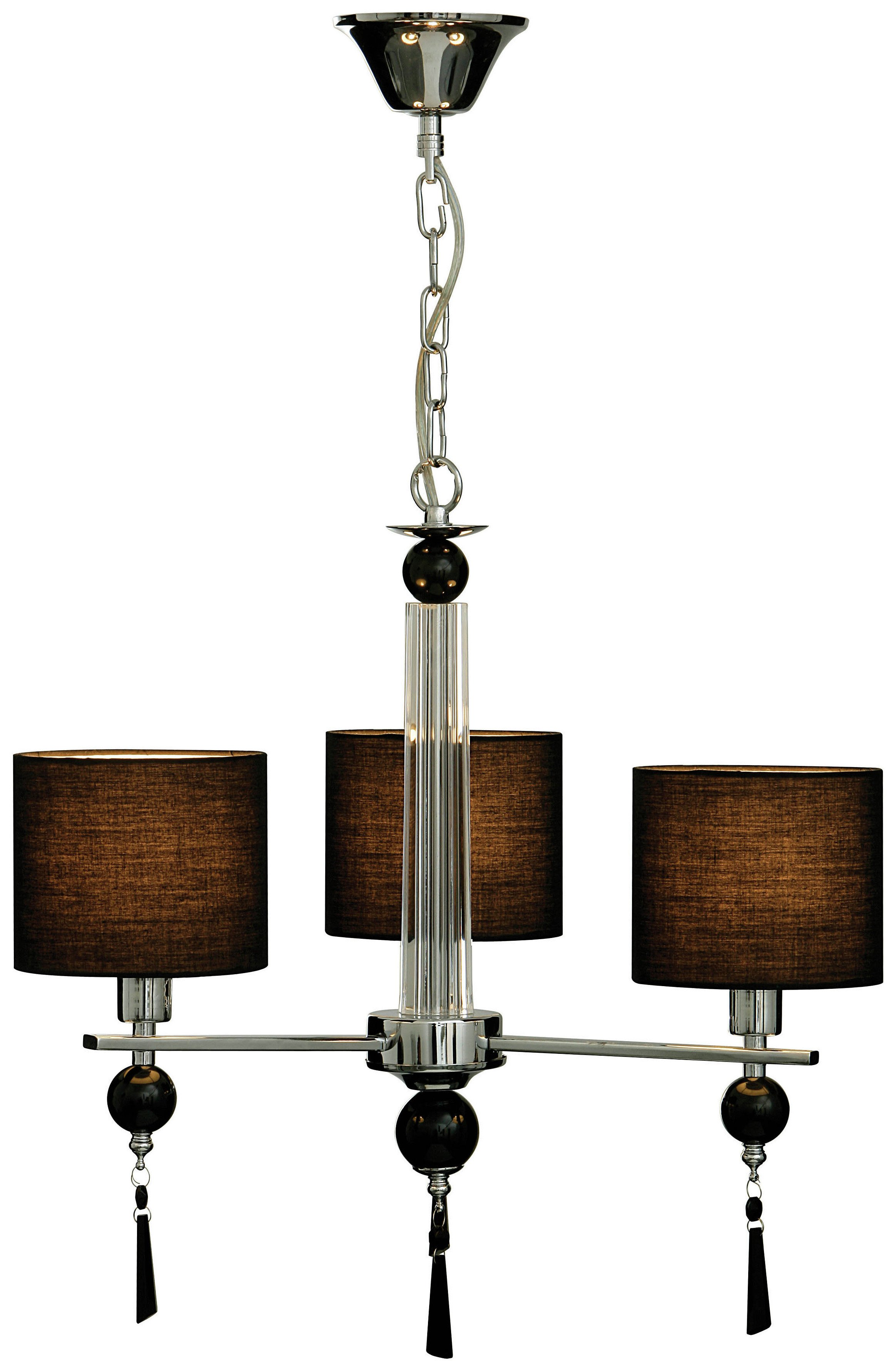 3 Arm Ceiling Light with Black Fabric Shades - Steel