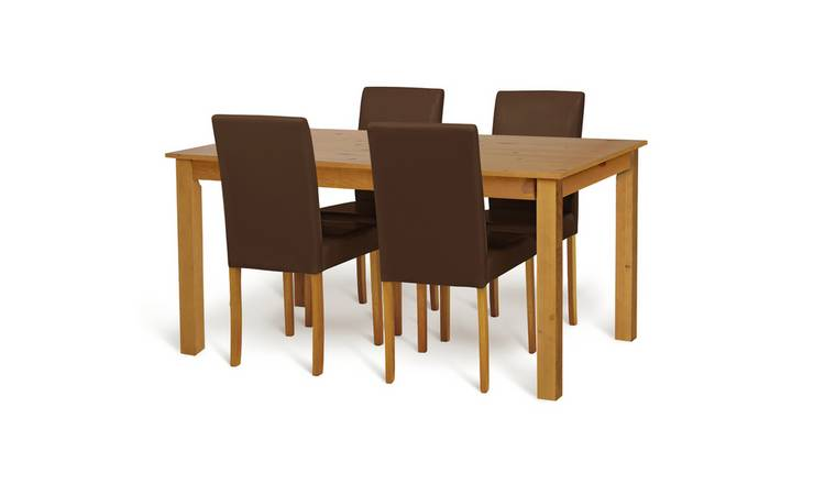Habitat Ashdon Solid Wood Table & 4 Chocolate Chairs
