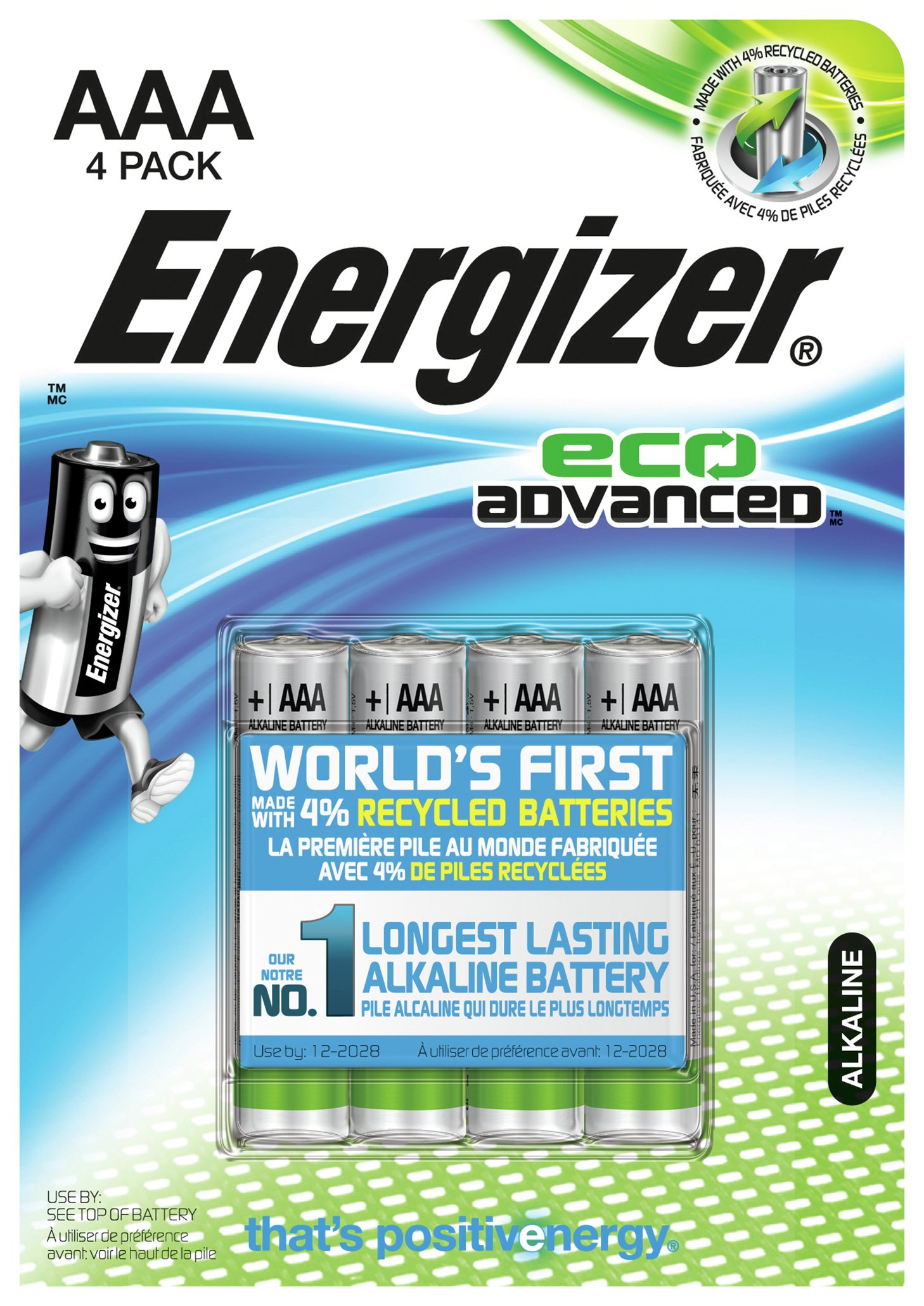 Image of Energizer Eco Advanced AAA Batteries - Pack of 4