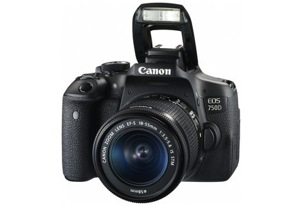 Cut out image of the Canon EOS 1300D DSLR camera and lens.