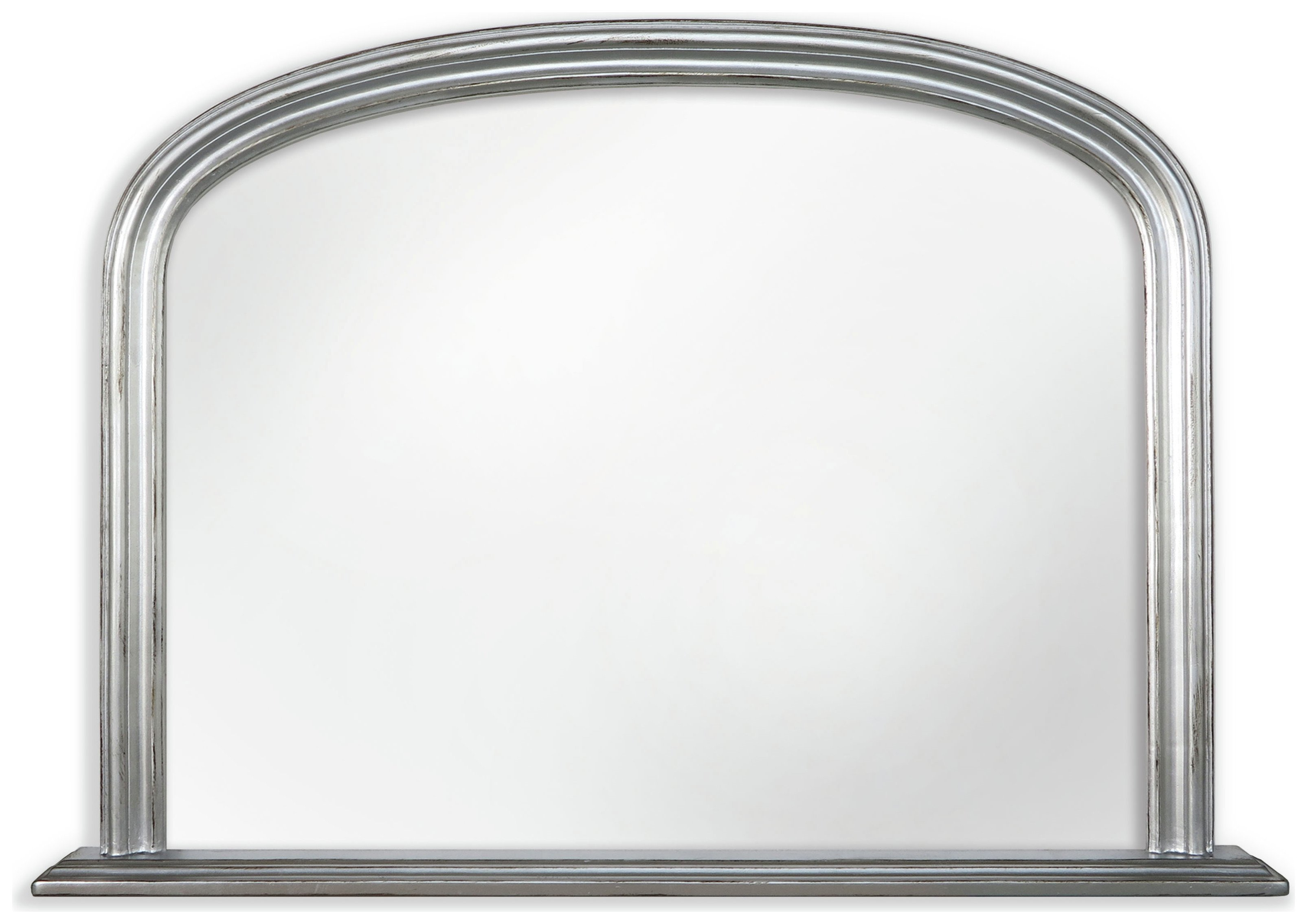 Innova Solid Wood Over Mantel Mirror - Silver Effect