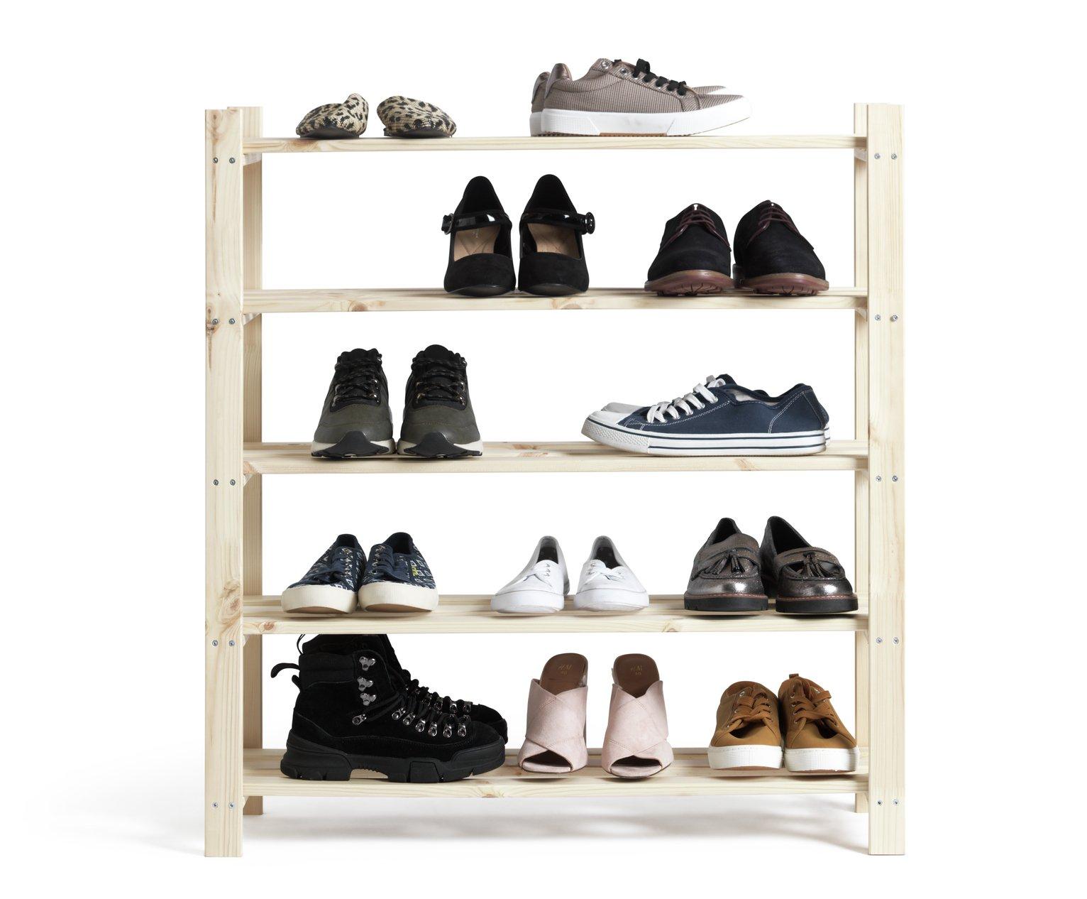 Buy Home 5 Shelf Shoe Storage Rack Solid Unfinished Pine