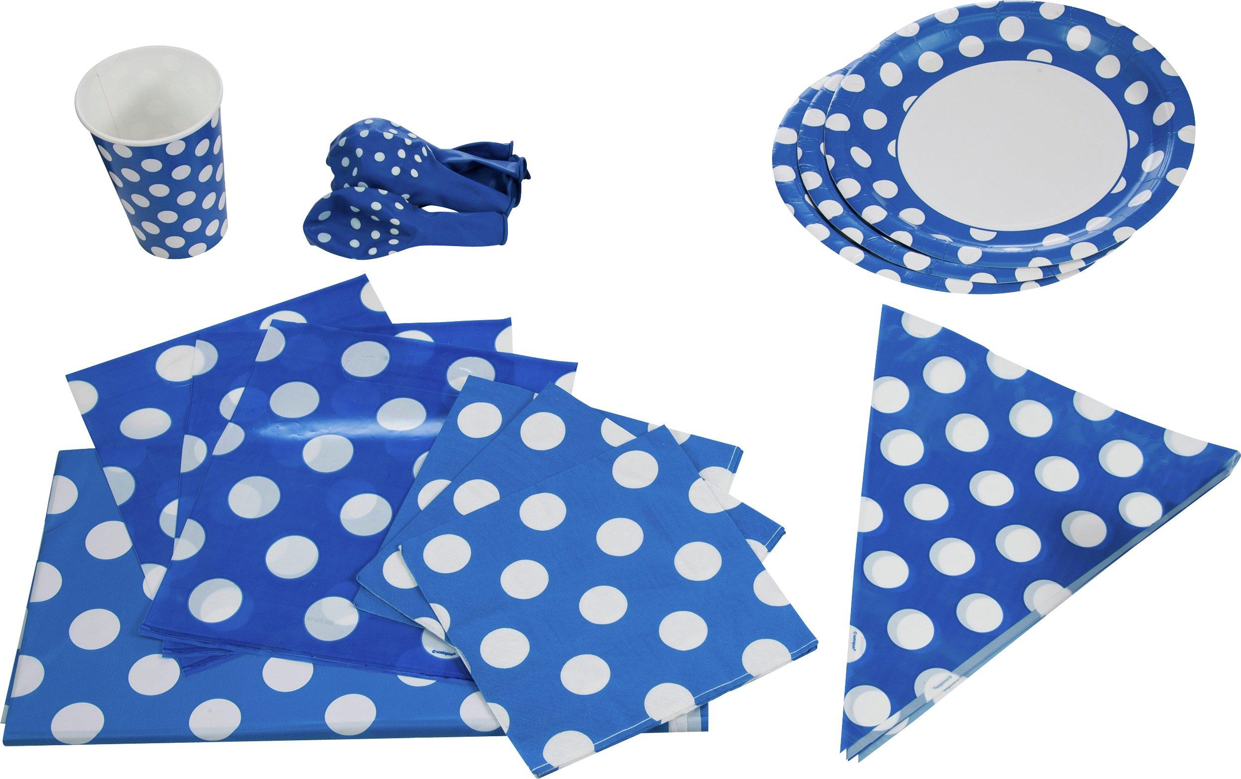 Decorative Dots Party Kit for 16 - Royal Blue