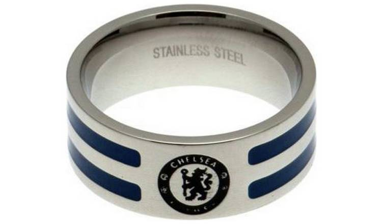 Stainless Steel Chelsea Striped Ring - Size U.