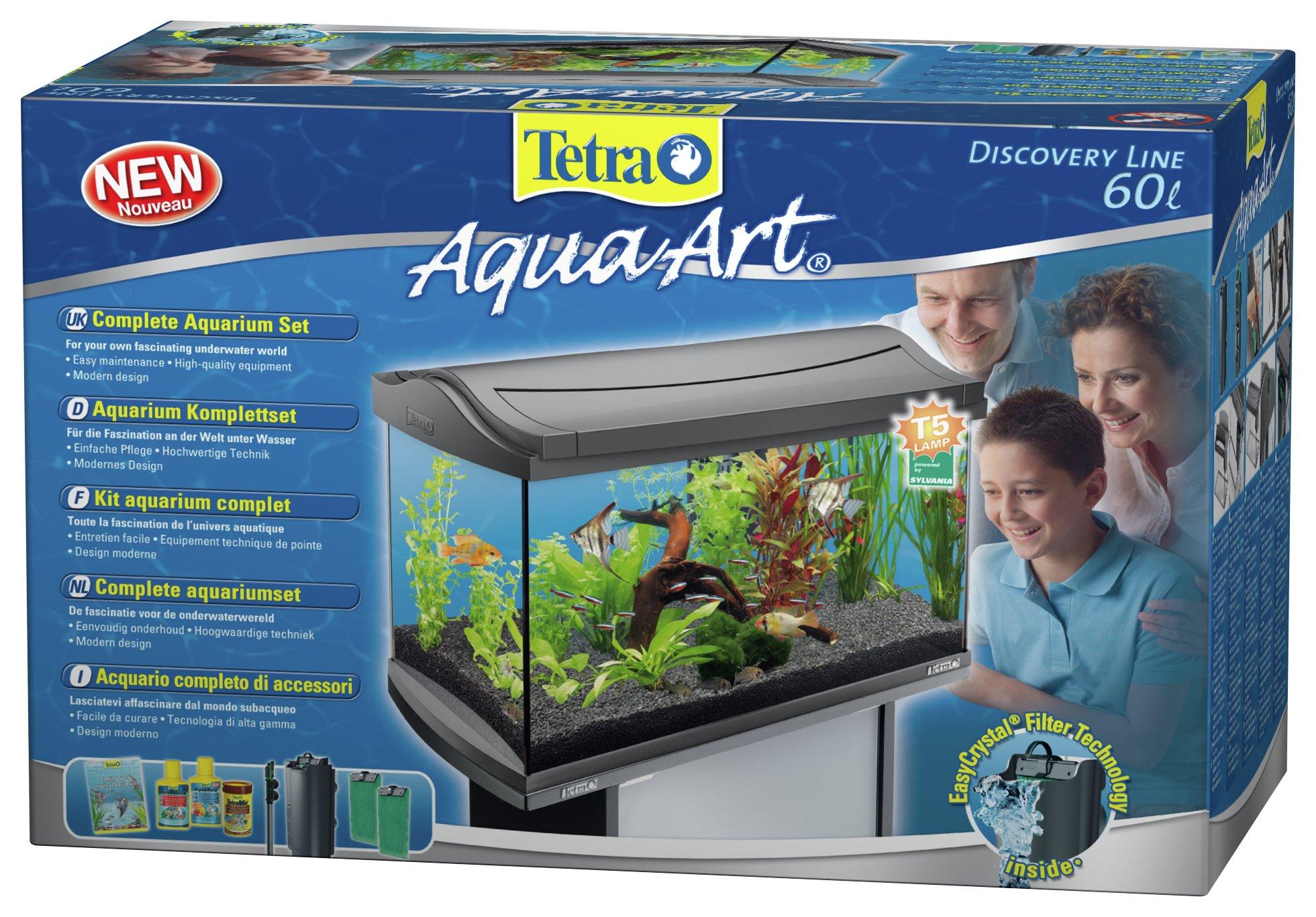 Tetra aquaart ii 60 litre aquarium graphite for Decoration aquarium 60 litres
