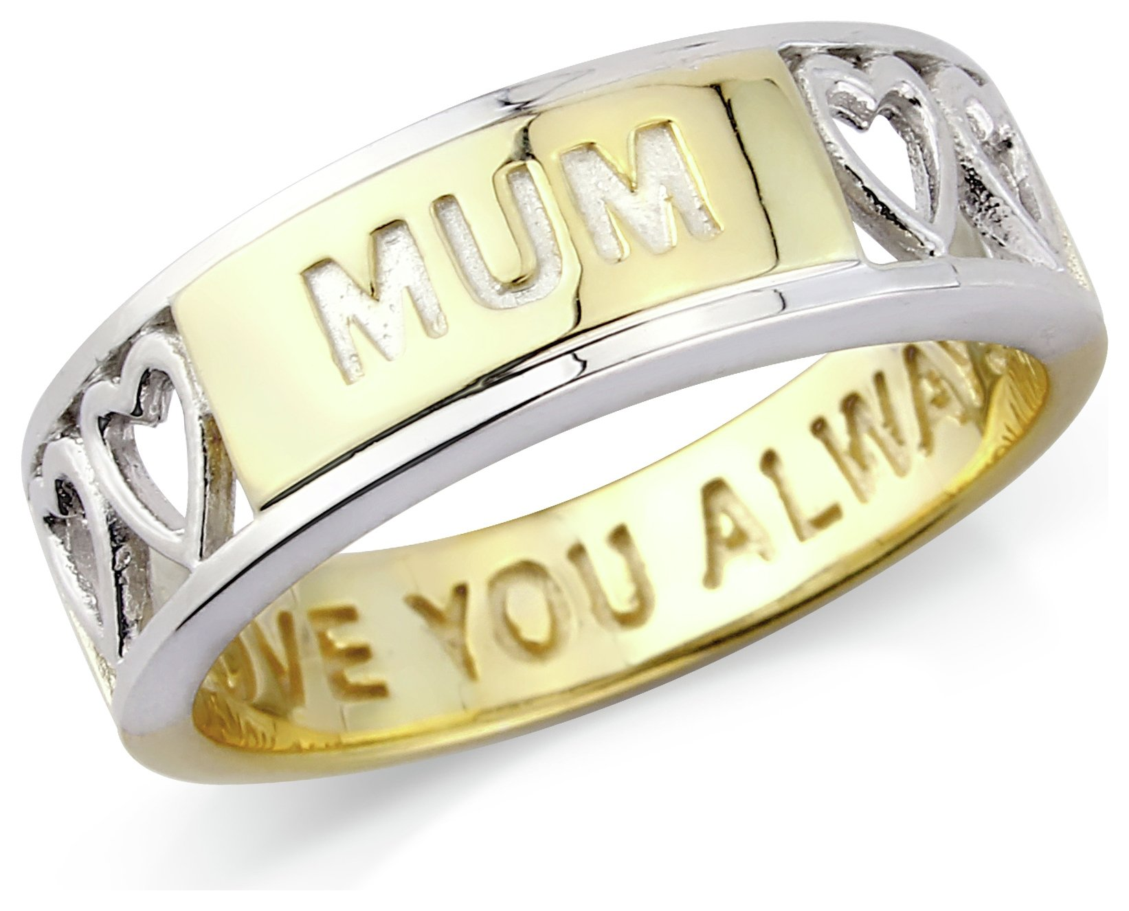 Image of Gold Plated Silver 'Mum' Message Ring - P