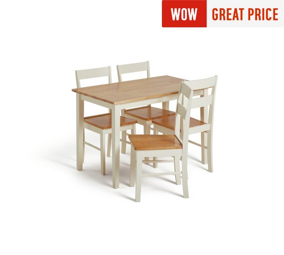 Collection Chicago Solid Wood Table 4 Chairs