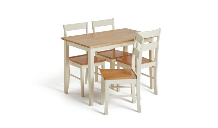 Argos Home Chicago Solid Wood Table & 4 Two Tone Chairs