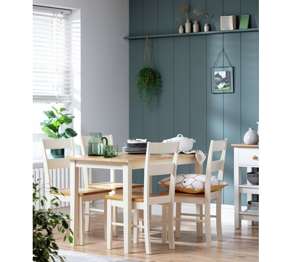 Buy collection chicago solid wood table 4 chairs two tone at your online shop - Dining room furniture chicago ...