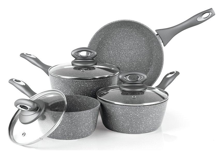 Salter - 4 Piece Aluminium Marble Effect Pan Set