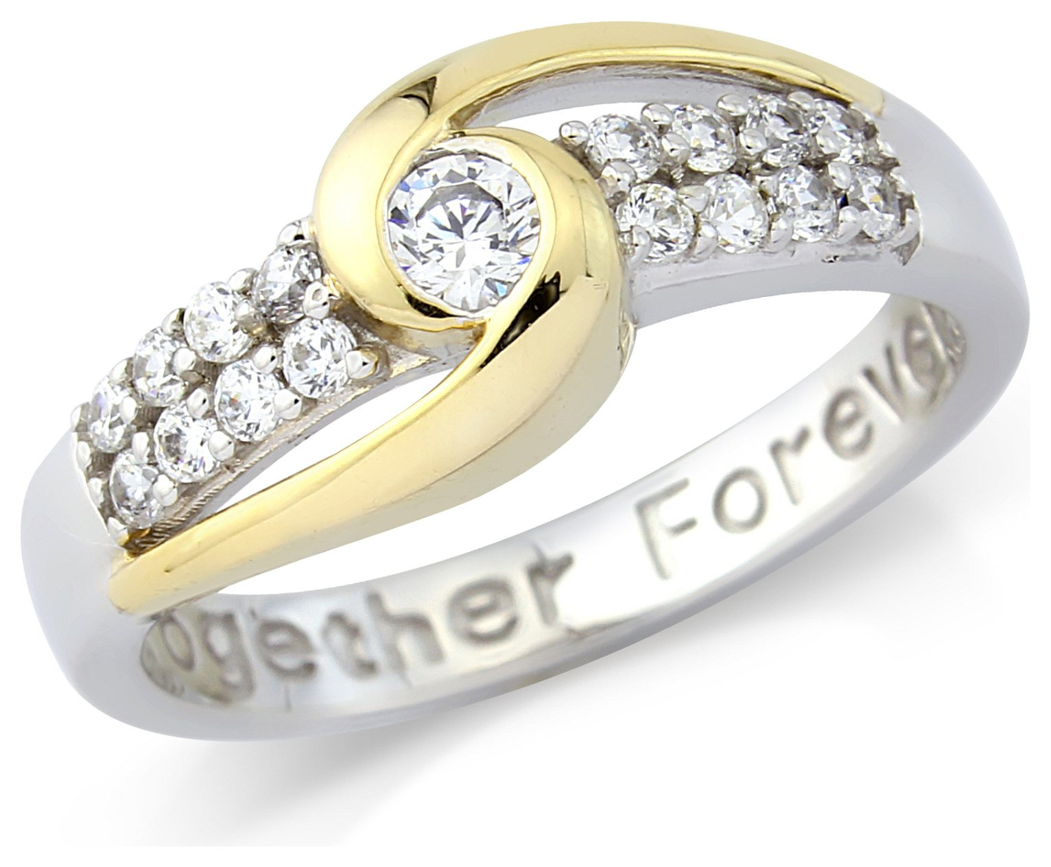 Image of Gold Plated Silver 'Together Forever' Ring - T
