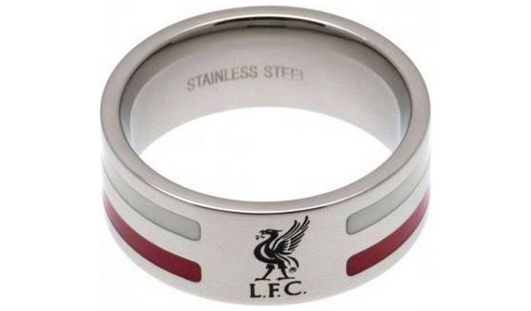 Stainless Steel Liverpool Striped Ring - Size U.