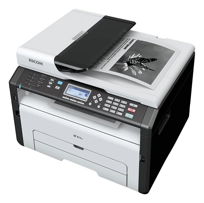 Ricoh sp211sf a4 mono laser 4 in 1 multifunction printer for Best home office mfp