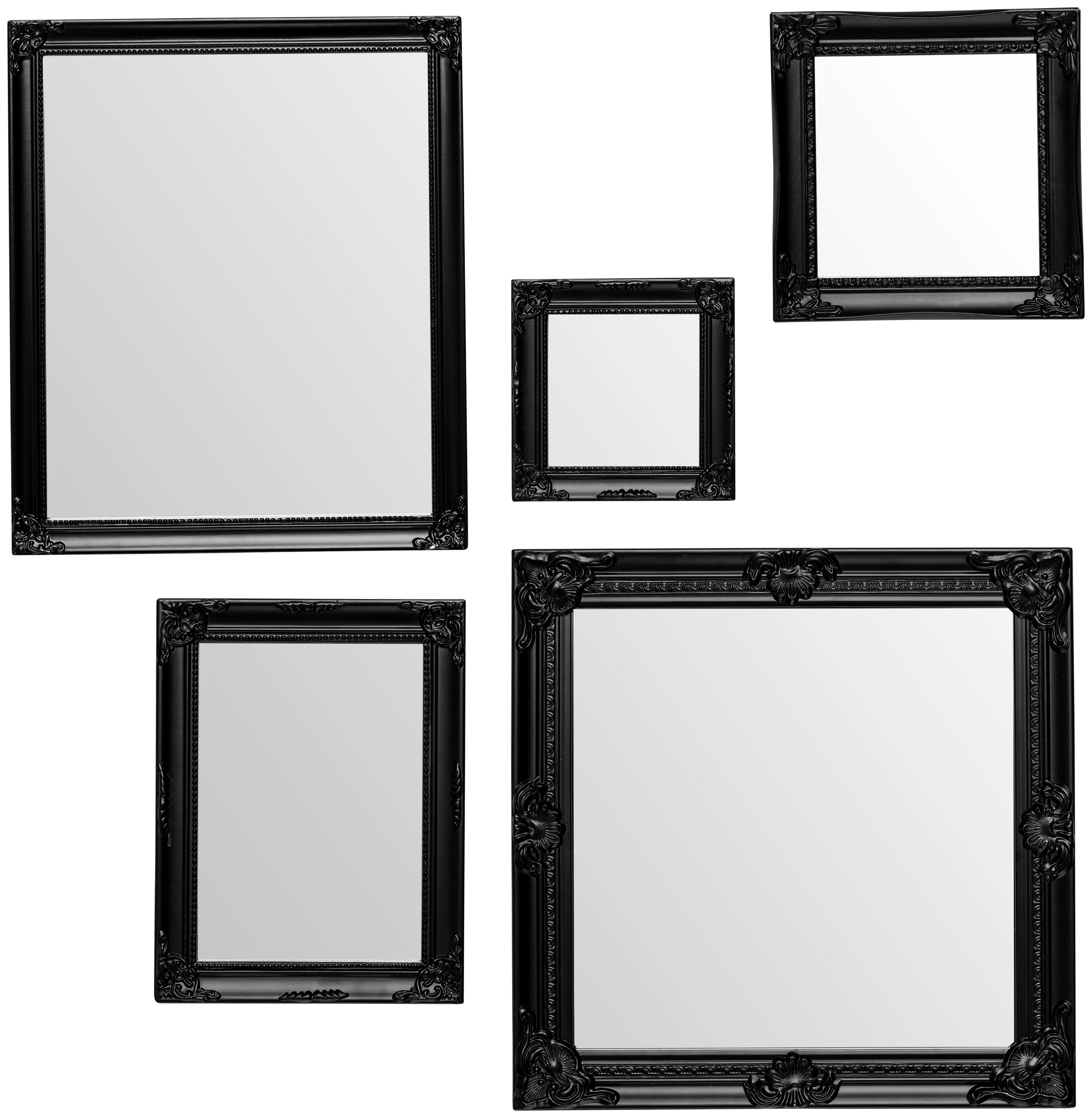 Premier Housewares Baroque Set of 5 Frame Mirrors - Black