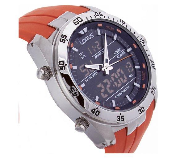 buy lorus men s orange digital and analogue watch at argos co uk loading
