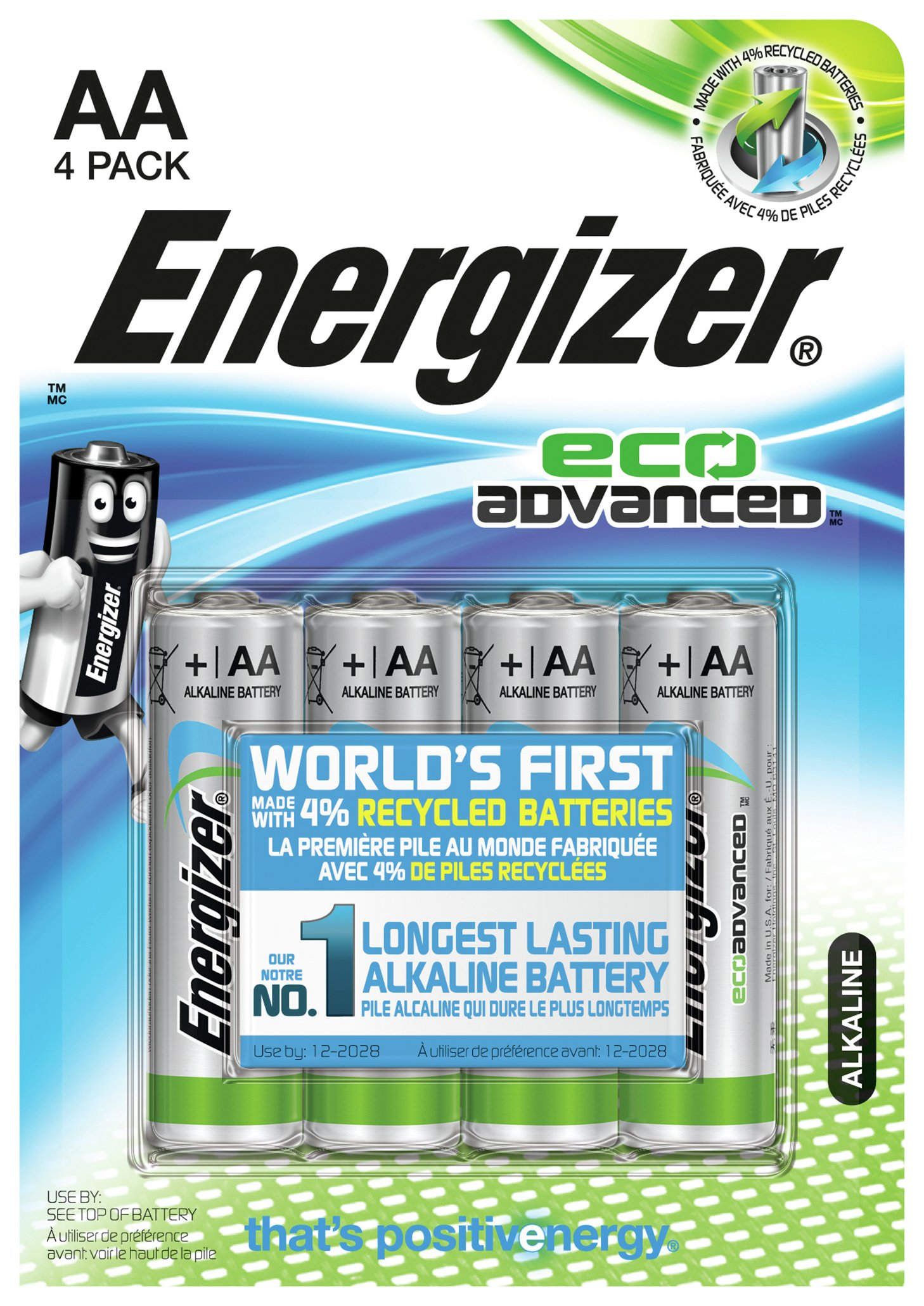 Image of Energizer Eco Advanced AA Batteries - Pack of 4