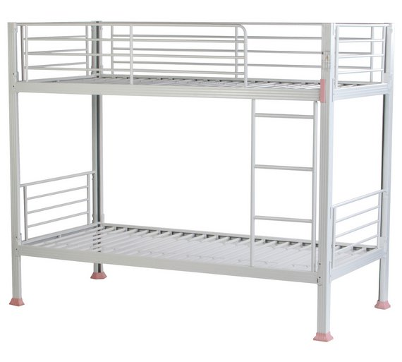 Buy home boltzero metal bunk bed frame white at for White bunk bed frame