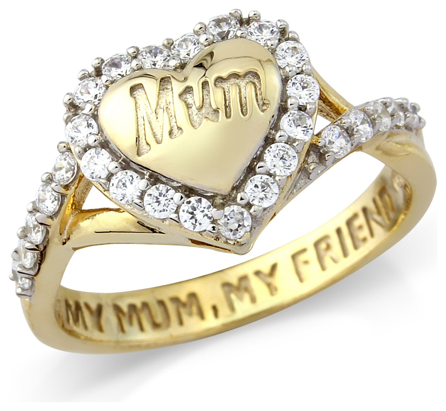 Buy 9ct Gold Plated La s Mum Message Ring T at Argos