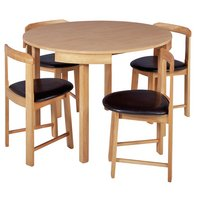 Hygena Alena Solid Oak Circular Dining Table & 4 Chairs