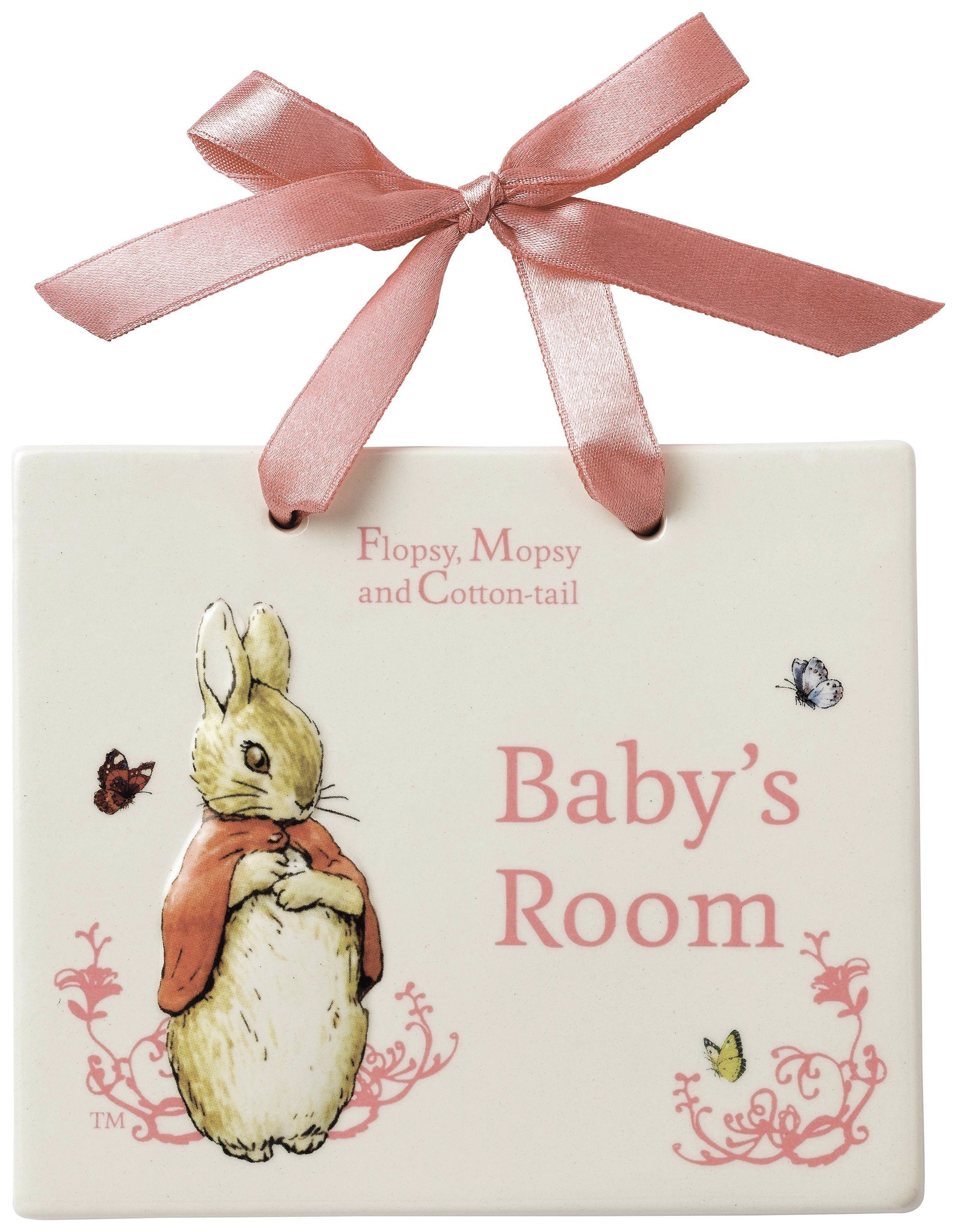 Image of Beatrix Potter Flopsy Bunny Door Plaque.