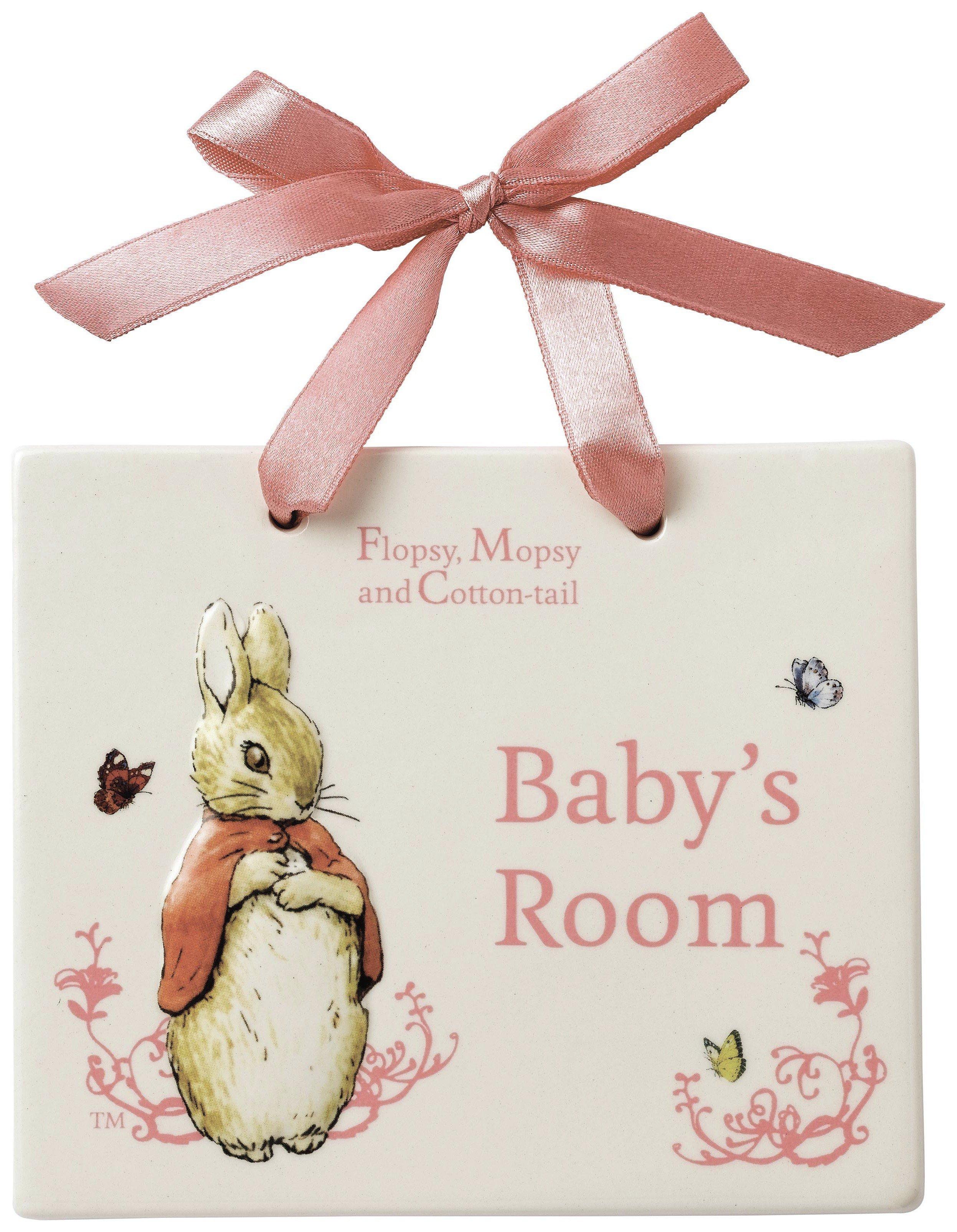 Image of Beatrix Potter Flopsy Bunny Door Plaque.