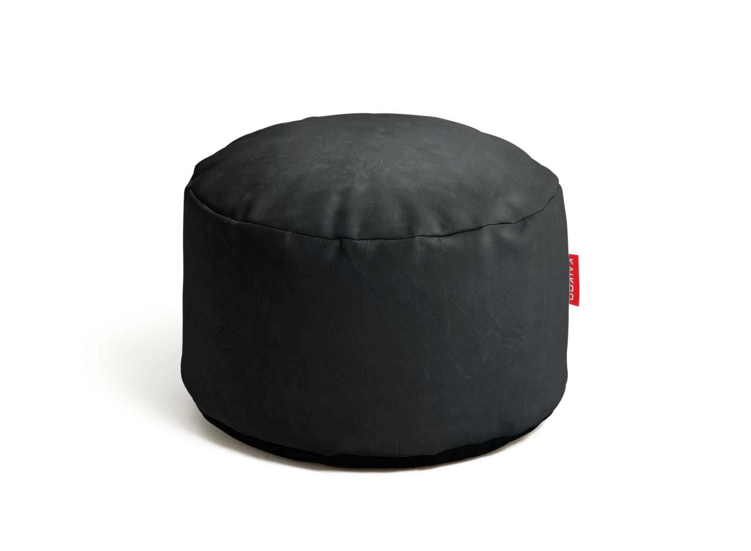 HOME - Leather Effect Footstool - Black