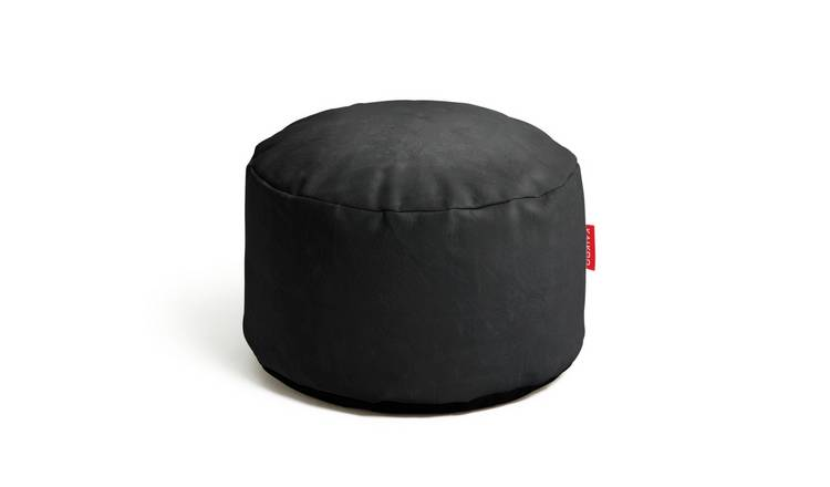Habitat Faux Leather Footstool - Black