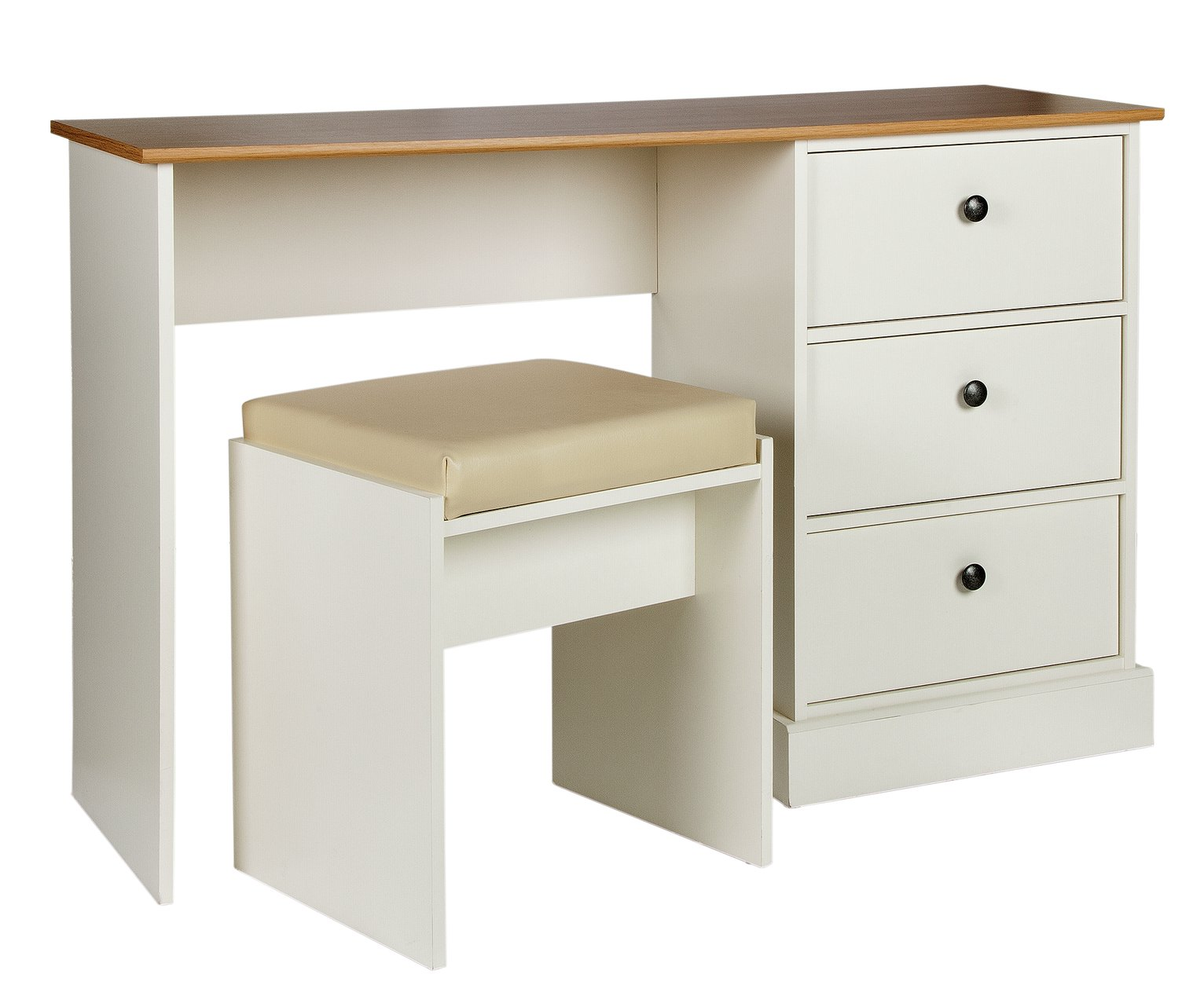 Image of Collection Kensington 3 Drw Dressing Table - Oak Eff & Ivory