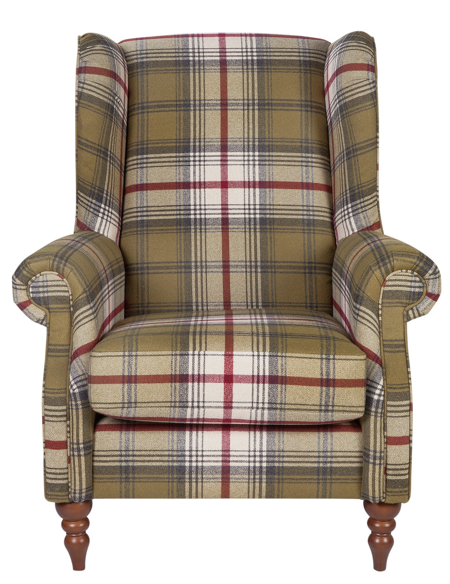 Argos Home Argyll Fabric High Back Chair - Autumn Tartan