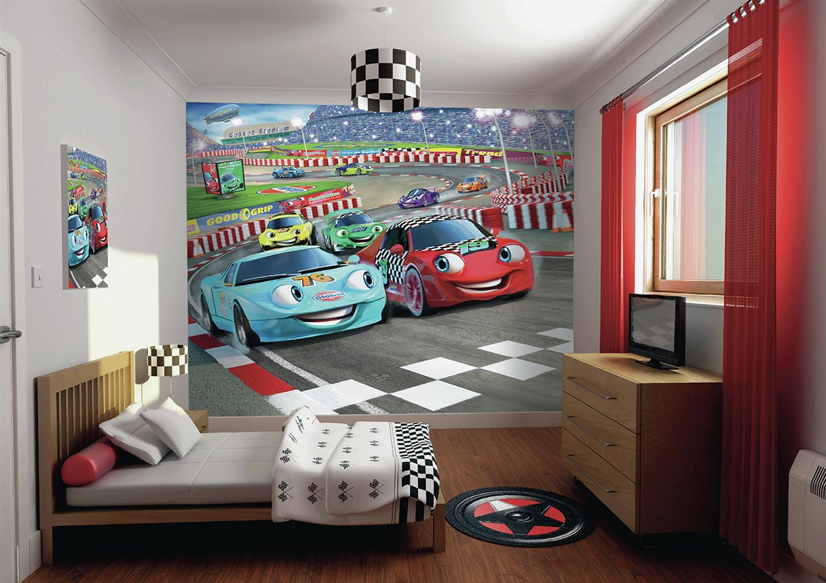 walltastic  car racers  wallpaper mural