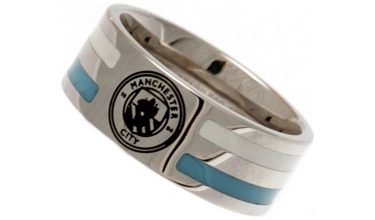 Stainless Steel Man City Striped Ring - Size R