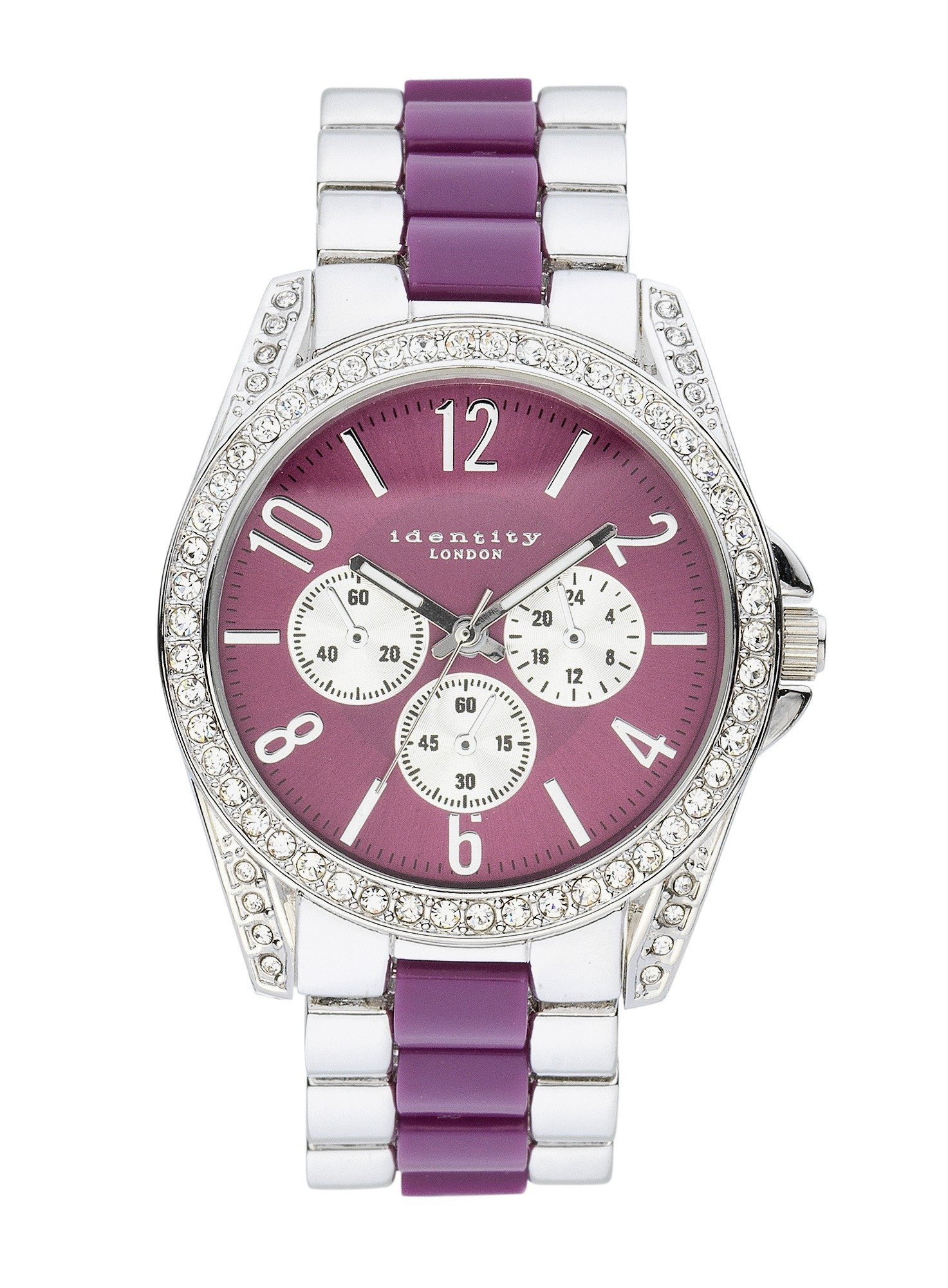 Identity Lux Two Tone Purple Dial Bracelet Watch