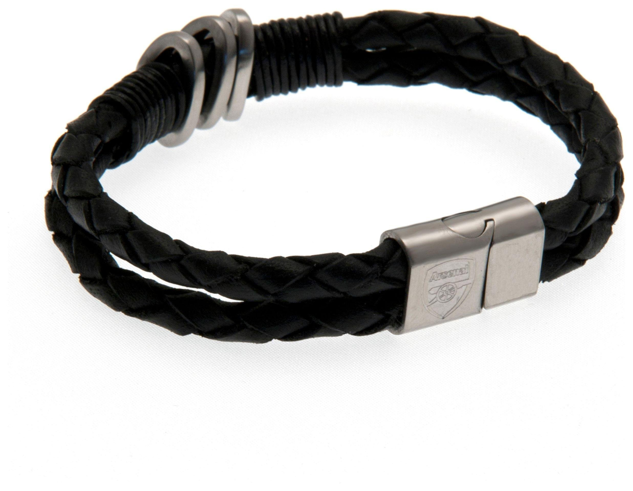 Image of Stainless Steel and Leather Arsenal Bracelet.