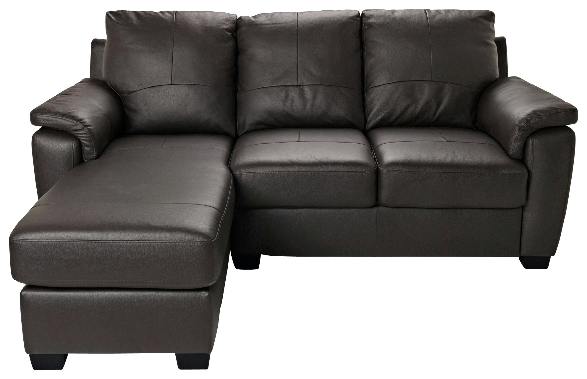 HOME - Antonio - Leather/Leather Eff Left Corner Sofa - Choc
