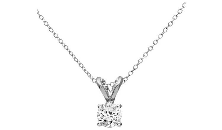 0432484c5e8a4 Buy Revere 9ct White Gold Diamond Pendant 18 Inch Necklace | Womens  necklaces | Argos