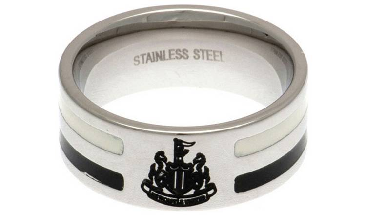 Stainless Steel Newcastle Utd Striped Ring - Size X