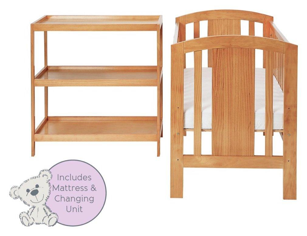 Image of Baby Elegance Laba Cot, Mattress and Changer Set - Pine.