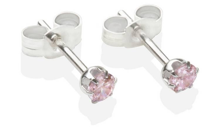 763d144159e7d Buy Sterling Silver Pink Cubic Zirconia Stud Earrings - 3mm | Womens  earrings | Argos